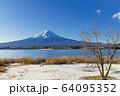 山梨_冬の富士山と残り柿 64095352