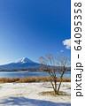山梨_冬の富士山と残り柿 64095358