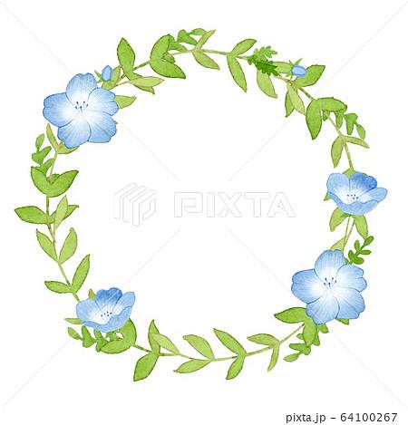 手描き水彩|ネモフィラのリース 春のお花 イラスト 64100267