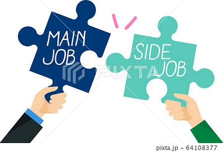 本業と副業のパズルイメージ 64108377