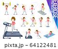 flat type mask pink blouse women_exercise 64122481