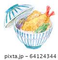 水彩イラスト 魚介 天丼 海鮮 64124344