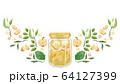 植物とリンゴジャムの水彩フレームデザイン 64127399