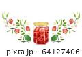 植物とイチゴジャムの水彩フレームデザイン 64127406