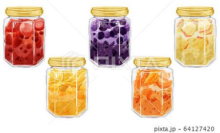 フルーツのジャム5種水彩イメージ 64127420