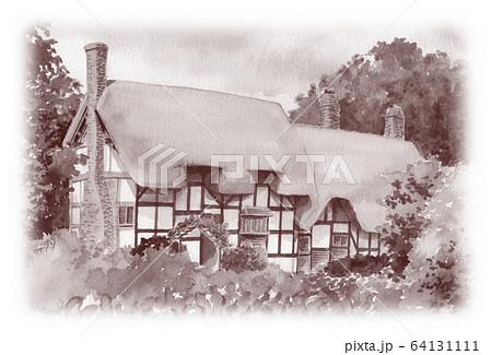 水彩で描いた英国のサッチドハウス 64131111