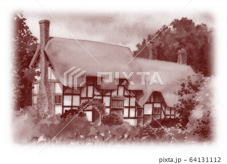 水彩で描いた英国のサッチドハウス 64131112