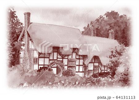 水彩で描いた英国のサッチドハウス 64131113
