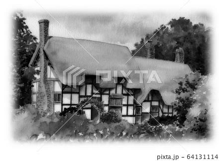 水彩で描いた英国のサッチドハウス 64131114