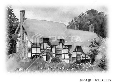 水彩で描いた英国のサッチドハウス 64131115