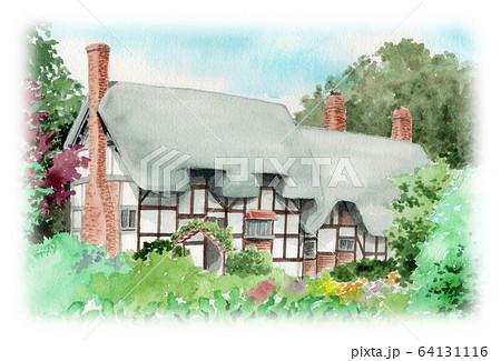 水彩で描いた英国のサッチドハウス 64131116