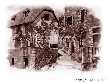 水彩で描いたフランス・コンクの家並み 64131846