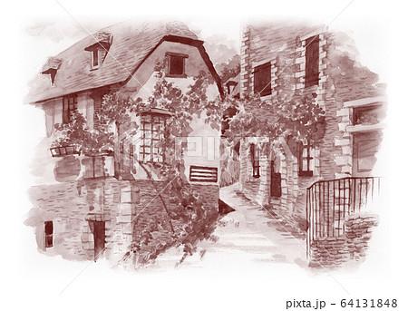水彩で描いたフランス・コンクの家並み 64131848