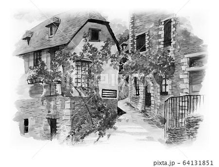 水彩で描いたフランス・コンクの家並み 64131851