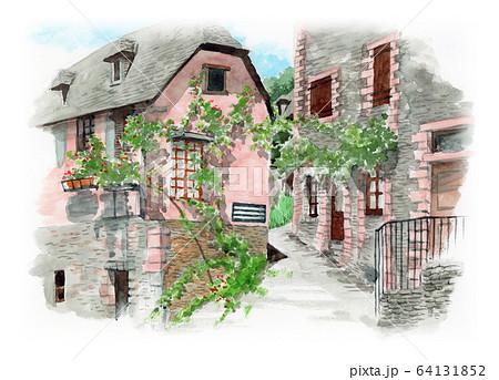 水彩で描いたフランス・コンクの家並み 64131852