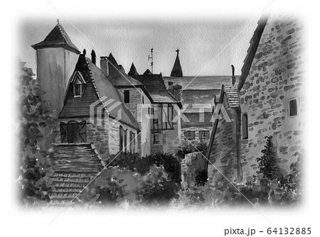 水彩で描いたフランス・カレナックの家並み 64132885