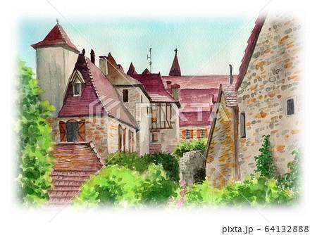 水彩で描いたフランス・カレナックの家並み 64132888