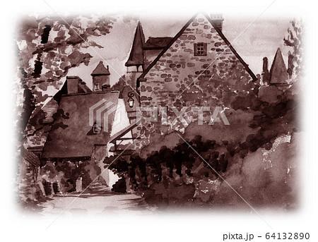 水彩で描いたフランス・カレナックの家並み 64132890