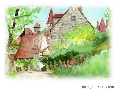 水彩で描いたフランス・カレナックの家並み 64132896