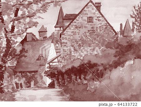 水彩で描いたフランス・カレナックの家並み 64133722