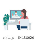 オンライン診療 医師 患者 コロナウイルス 感染予防 イラスト セット 64138020