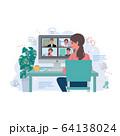 リモートワーク   オンライン会議 在宅勤務 テレワーク イラスト 64138024