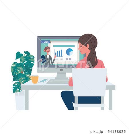 オンラインセミナー 動画配信をみる女性 イラスト 64138026