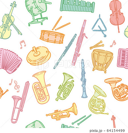 オーケストラの楽器のパターン素材 64154499