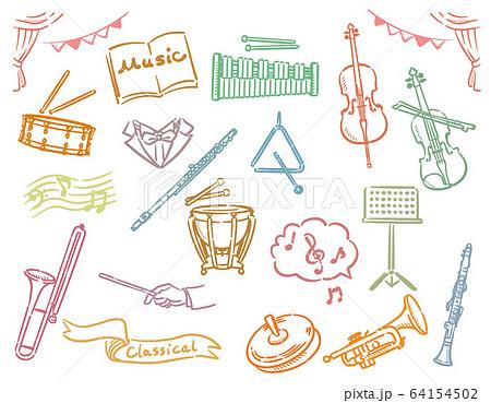 オーケストラの楽器のイラスト素材セット 64154502