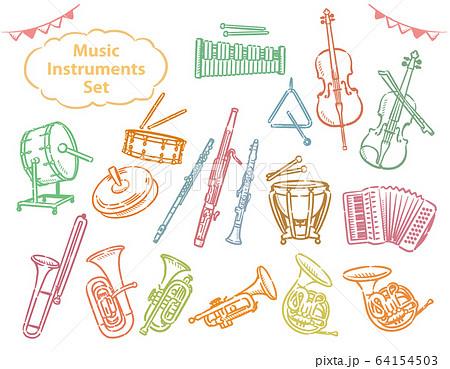 オーケストラの楽器のイラスト素材セット 64154503