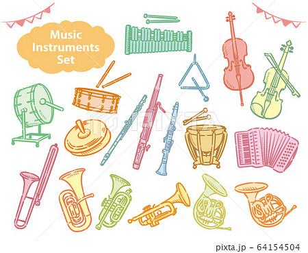 オーケストラの楽器のイラスト素材セット 64154504