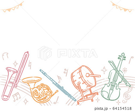 楽器のイラストを使った背景素材 64154518