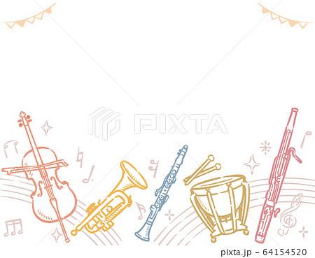 楽器のイラストを使った背景素材 64154520