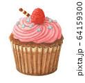 ラズベリーカップケーキ 手描き 水彩 64159300