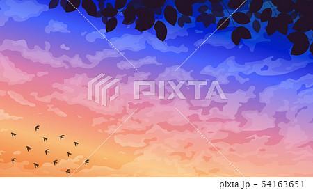 綺麗な夜明けの風景イラストのイラスト素材