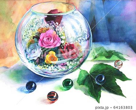 ガラスの中のブリザードフラワーとビー玉と葉っぱを描いた水彩イラス 64163803