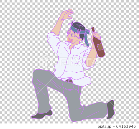 Illustration of a drunk man with a tie on his head 64163946