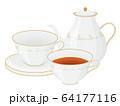 ティータイムのイラスト_ティーカップとポット 64177116
