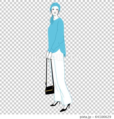 時尚的女人(全身,春天,秋天,藍色) 64186629