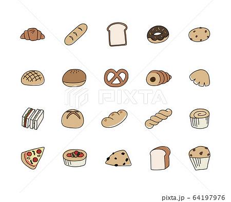 手描きのパンのイラストのセット/かわいい/シンプル/線 64197976