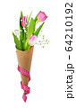 Pink tulips and gypsiphila flowers in a craft 64210192
