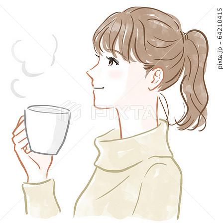 マグカップを持った女性 64210415