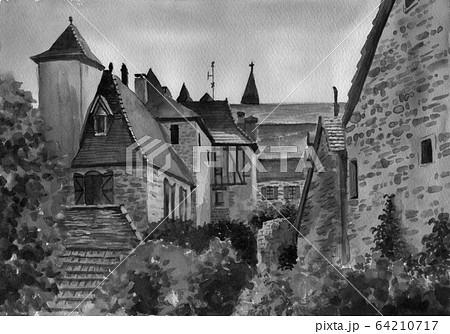 水彩で描いたフランス・カレナックの家並み 64210717