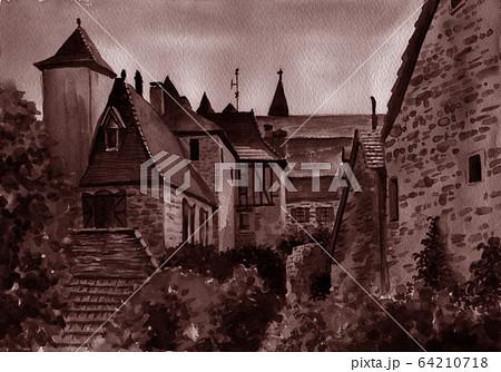 水彩で描いたフランス・カレナックの家並み 64210718