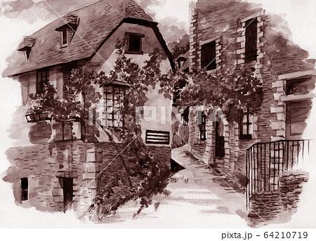 水彩で描いたフランス・コンクの家並み 64210719