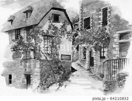水彩で描いたフランス・コンクの家並み 64210832