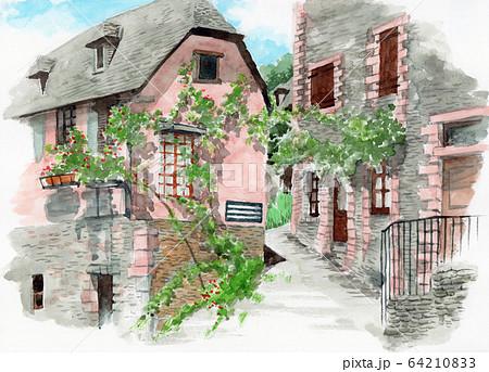 水彩で描いたフランス・コンクの家並み 64210833