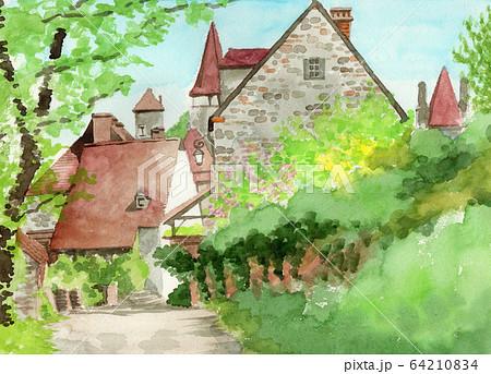 水彩で描いたフランス・カレナックの家並み 64210834