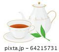 紅茶のイラスト_ティーカップ_ポット_茶葉 64215731
