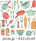 Kitchenware and utensils. Cooking flat hand drawn seamless pattern. 64218140